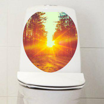 Sunset Path in Woodland Printed Bathroom Decor Toilet Sticker - COLORFUL 12.6*15.4 INCH