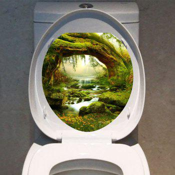 Decorative Tree Hole Stream Forest Printed Toilet Sticker - GREEN 12.6*15.4 INCH