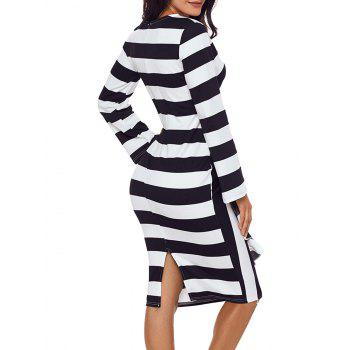Stripe Ruffle Long Sleeve Dress - BLACK XL