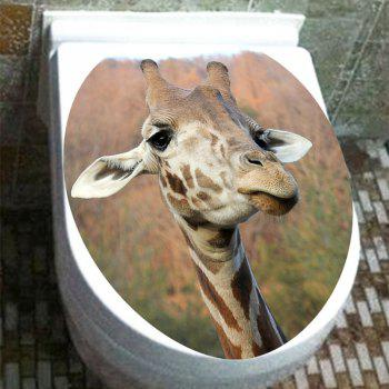 Waterproof Giraffe Print Toilet Sticker - BROWN 12.6*15.4 INCH