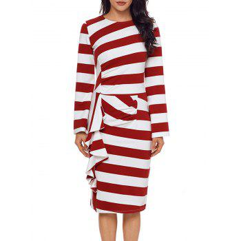 Stripe Ruffle Long Sleeve Dress - RED RED