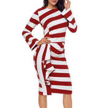 Stripe Ruffle Long Sleeve Dress - RED S