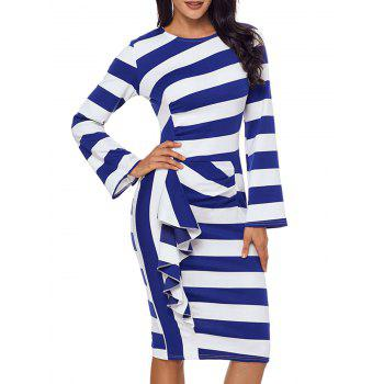 Stripe Ruffle Long Sleeve Dress - BLUE BLUE