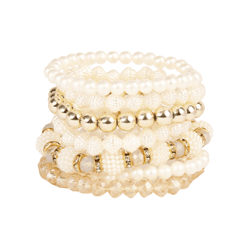 Faux Pearl Rhinestone Elastic Beaded Bracelet Set - GOLDEN