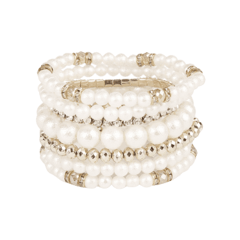 Faux Pearl Rhinestoned Beaded Bracelet Set - SILVER
