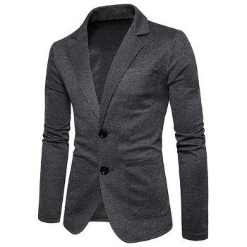Single Breasted Lapel Cotton Blend Blazer - DEEP GRAY M