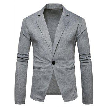 One Button Lapel Cotton Blend Blazer - LIGHT GRAY LIGHT GRAY