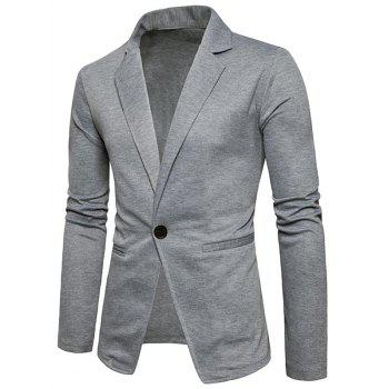 One Button Lapel Collar Cotton Blend Blazer - LIGHT GRAY 2XL