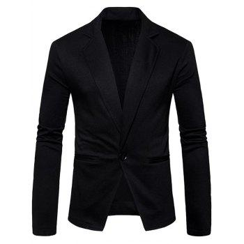 One Button Lapel Cotton Blend Blazer - BLACK BLACK