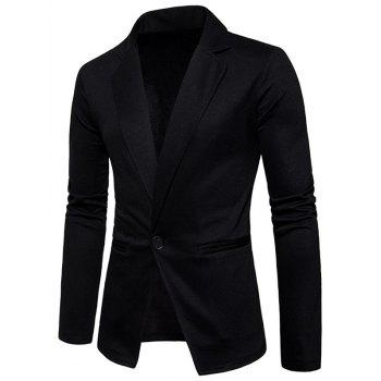 One Button Lapel Collar Cotton Blend Blazer - BLACK L