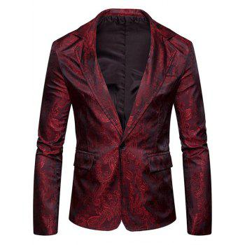 Flap Pocket One Button Vintage Paisley Blazer - WINE RED WINE RED
