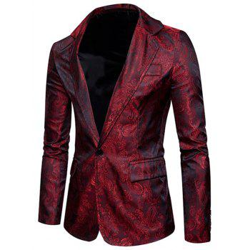 Flap Pocket One Button Vintage Paisley Blazer - WINE RED 2XL