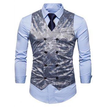 Double Breasted Paisley Pattern Waistcoat - SILVER XL