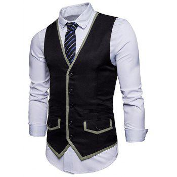 Contrast Trim Faux Pocket Single Breasted Waistcoat - BLACK S
