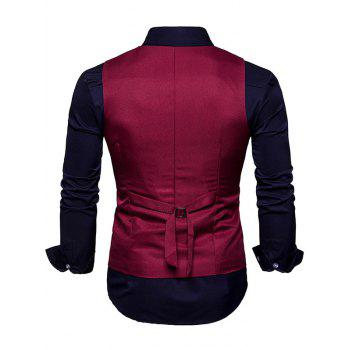 Slim Fit V Neck Double Breasted Waistcoat - WINE RED L