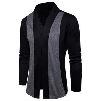 Shawl Collar Two Tone Open Front Cardigan - BLACK XL