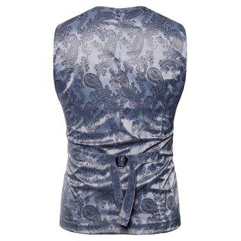 Double Breasted Paisley Pattern Waistcoat - SILVER M