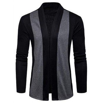 Shawl Collar Two Tone Open Front Cardigan - BLACK BLACK