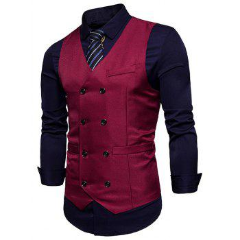Slim Fit V Neck Double Breasted Waistcoat - WINE RED M