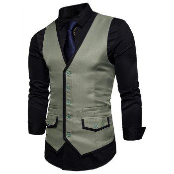 Contrast Trim Faux Pocket Single Breasted Waistcoat - SAGE GREEN M