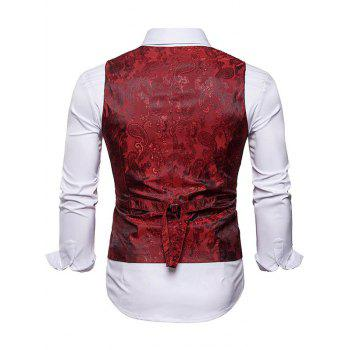 Double Breasted Paisley Pattern Waistcoat - WINE RED XL