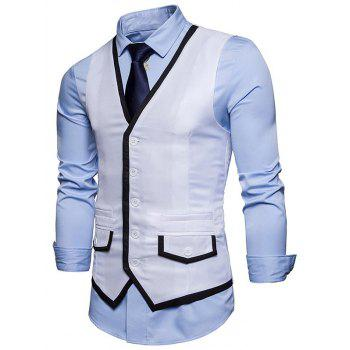Contrast Trim Faux Pocket Single Breasted Waistcoat - WHITE 2XL