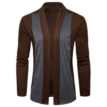 Shawl Collar Two Tone Open Front Cardigan - CAPPUCCINO CAPPUCCINO