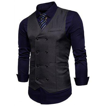 Slim Fit V Neck Double Breasted Waistcoat - DEEP GRAY 2XL