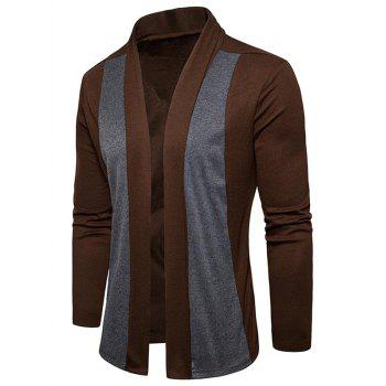 Shawl Collar Two Tone Open Front Cardigan - CAPPUCCINO M