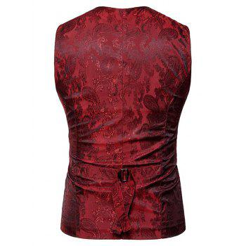 Double Breasted Paisley Pattern Waistcoat - WINE RED M