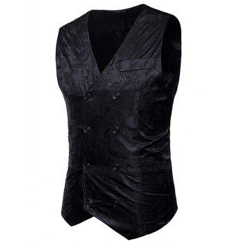 Double Breasted Paisley Pattern Waistcoat - BLACK XL