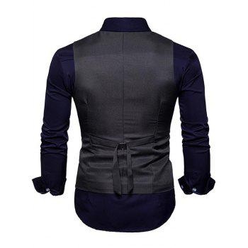 Slim Fit V Neck Double Breasted Waistcoat - DEEP GRAY S
