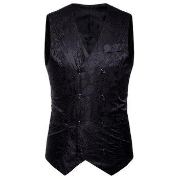 Double Breasted Paisley Pattern Waistcoat - BLACK BLACK
