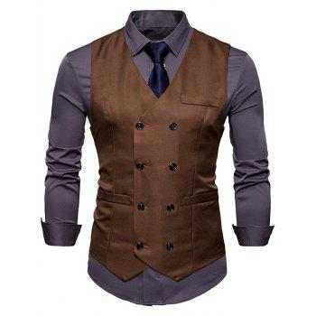 Slim Fit V Neck Double Breasted Waistcoat - CAPPUCCINO CAPPUCCINO