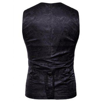 Double Breasted Paisley Pattern Waistcoat - BLACK M