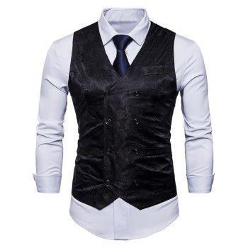 Double Breasted Paisley Pattern Waistcoat - BLACK S