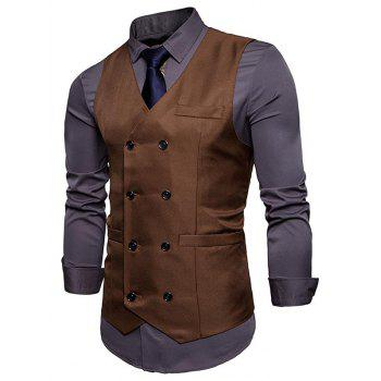 Slim Fit V Neck Double Breasted Waistcoat - CAPPUCCINO L