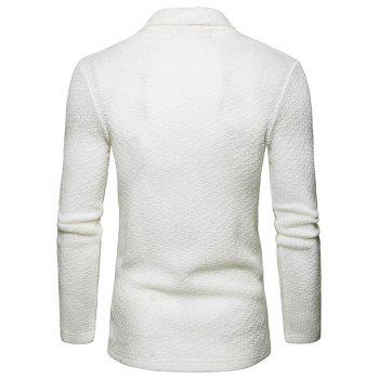 Textured Shawl Collar Open Front Cardigan - WHITE M