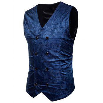 Double Breasted Paisley Pattern Waistcoat - BLUE L