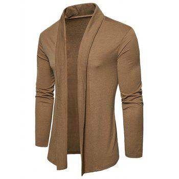 Plain Shawl Collar Open Front Cardigan - KHAKI L