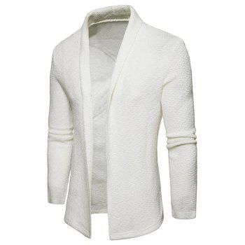 Textured Shawl Collar Open Front Cardigan - WHITE XL