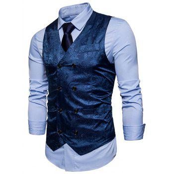 Double Breasted Paisley Pattern Waistcoat - BLUE M