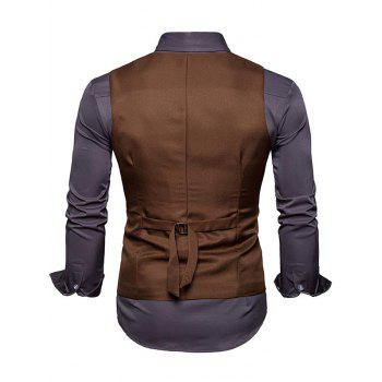Slim Fit V Neck Double Breasted Waistcoat - CAPPUCCINO S