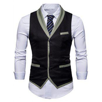 Single Breasted Shawl Collar Edging Waistcoat - BLACK BLACK