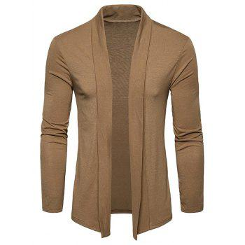 Plain Shawl Collar Open Front Cardigan - KHAKI KHAKI
