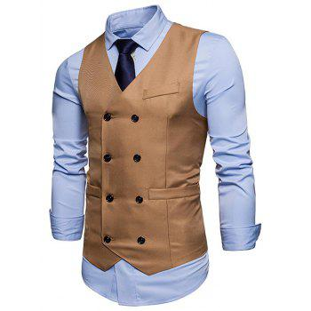 Slim Fit V Neck Double Breasted Waistcoat - KHAKI KHAKI