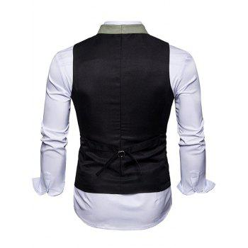 Shawl Collar Single Breasted Edging Waistcoat - BLACK S