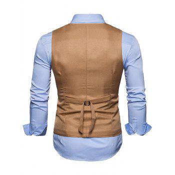 Slim Fit V Neck Double Breasted Waistcoat - KHAKI L