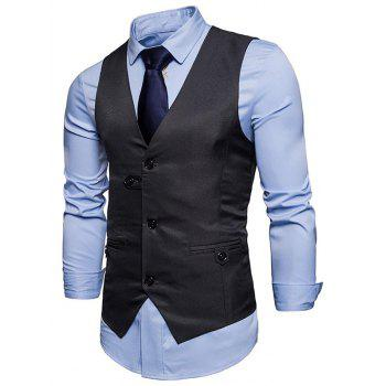 Single Breasted Belted V Neck Waistcoat - DEEP GRAY 2XL