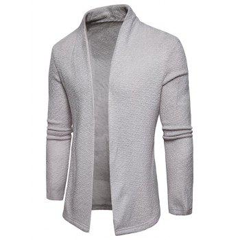 Textured Shawl Collar Open Front Cardigan - LIGHT GRAY M